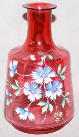 041435 CRANBERRY GLASS CARAFE C 1875 H 7
