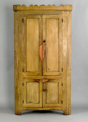 Pennsylvania painted poplar one piece corner cupboard early 19th c