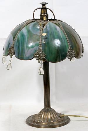 031413 SLAG GLASS  BRASS TABLE LAMP EARLY 20TH C