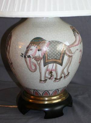 020434 ELEPHANT MOTIF TABLE LAMP PORCELAIN AND BRASS
