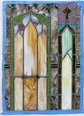020415 ANTIQUE STAINED GLASS WINDOW H 31 W 22