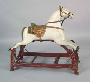 Carved and painted rocking horse 19th c