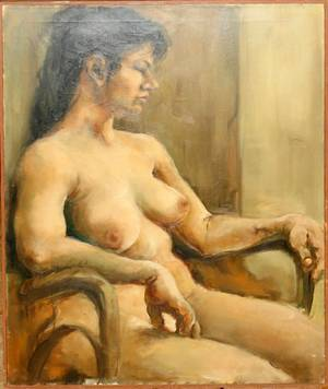 012379 JEROLD DEAGEN OIL ON CANVAS FEMALE NUDE