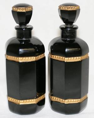 012367 FRENCH BLACK CRYSTAL PERFUME BOTTLES 2 19THC