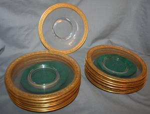 052462 FIRED GOLD AND CRYSTAL DESSERT PLATES 12