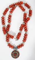 052431 RED CORAL NECKLACE TIBET STERLING PENDANT L 32
