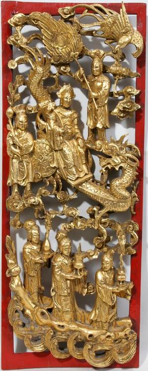 050410 THAILAND RED AND GILT WOOD PLAQUE H 21