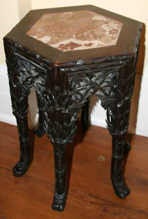 032421 CHINESE TEAKWOOD AND MARBLE TOP TABLE CA 1910
