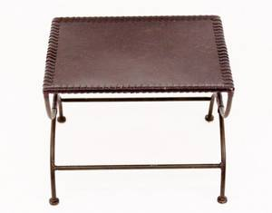 Leather and Iron Side Table or Ottoman