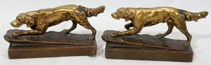 030408 BRONZE BOOK ENDS POINTERS PAIR L 8