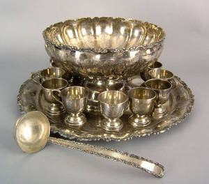 Mexican sterling silver punch service