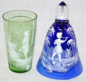 011517 MARY GREGORY GLASS TUMBLER  DINNER BELL H 4