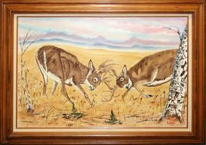 122444 DEAN COOMBS OIL ON CANVAS WHITE TAIL DEER 24