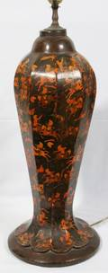 051559 INDIAN PAPIER MACHE LAMP EARLY 20TH C H 23