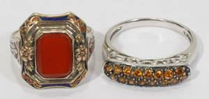 042502 FRENCH 14KT WGOLD AGATE STERLING TOPAZ RINGS