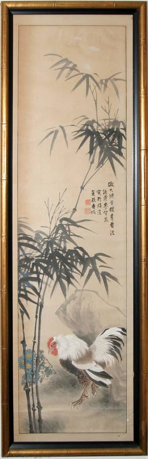 041530 CHINESE WATERCOLOR ON PAPER SCROLL MID 20TH C