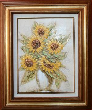 040477 RAMON OIL ON CANVAS 16 X 12 SUNFLOWERS