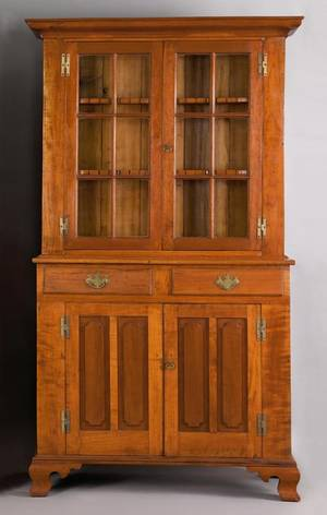 Pennsylvania or New Jersey cherry 2part stepback cupboard ca 1800