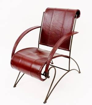 Dark Red to Brown Leather and Iron Armchair