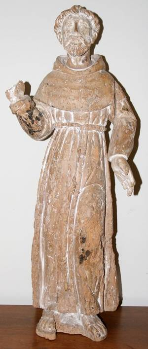 052037 ITALIAN WOOD SCULPTURE OF ST FRANCIS OF ASSISI