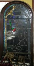 050002 STAINED GLASS WINDOWS C 18901910 PAIR