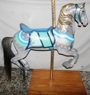 042027 ILLIONS CARVED  POLYCHROME WOOD CAROUSEL HORSE