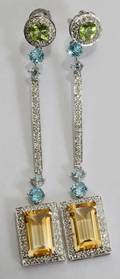 040024 14KT WHITE GOLD DIAMOND  GEMSTONE EARRINGS