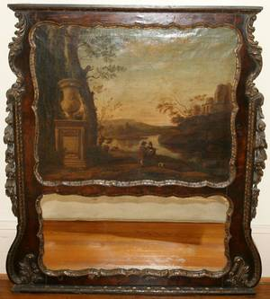 032046 WALNUT TRUMEAU MIRROR WOIL PAINTING ON CANVAS