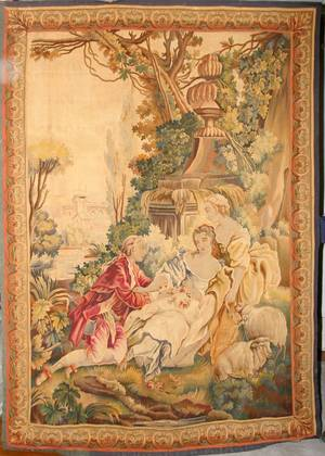 032044 AUBUSSON WOOL WALL TAPESTRY 18TH C H 90