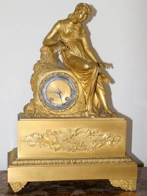 031027 CHAPPE A PARIS FRENCH GILT BRONZE FIGURAL CLOCK