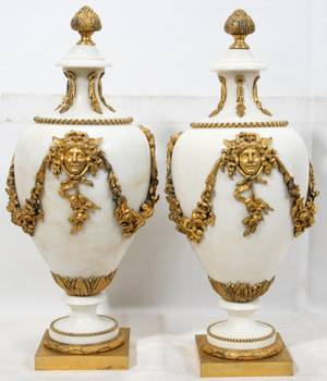 031050 FRENCH GILT BRONZE  MARBLE URNS PAIR H 17