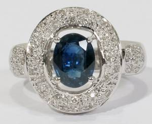 030043 14KT WHITE GOLD SAPPHIRE AND DIAMOND RING