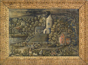 English George III wool and painted silk landscape ca 1800