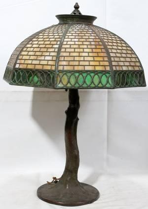 022042 HANDEL LEADED GLASS  BRONZE TABLE LAMP H 25