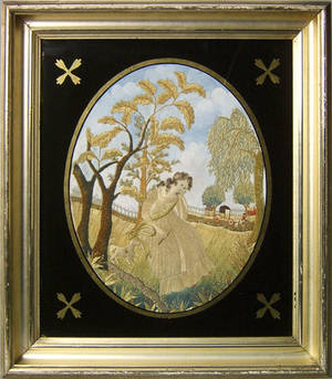Pair of needlework and painted silk oval pictures ca 1790