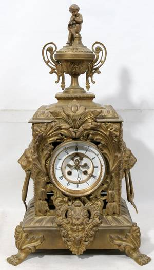 021008 FRENCH BRONZE CLOCK 19TH C H 24 W 13 D 9