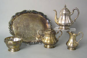New York four piece silver tea service by Ball Black  Co