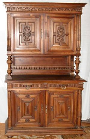 020008 CARVED WALNUT CABINET EARLY 20TH C H 90 W 55