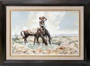 020043 DAVID E FERN OIL ON MASONITE COWBOY IN DESERT