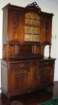 122056 COUNTRY FRENCH WALNUT CARVED BREAKFRONT 19THC