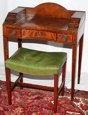 MAHOGANY  SATINWOOD INLAY CARLTON STYLE DESK