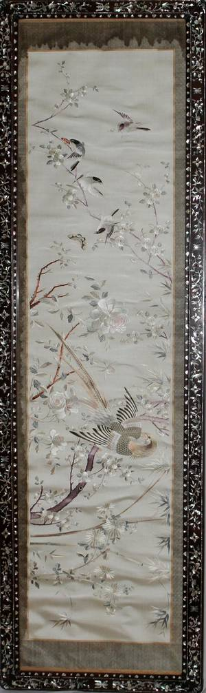 CHINESE SILK EMBROIDERY TEAKWOOD FRAME WITH MOTHEROF