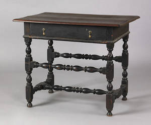 Boston William  Mary walnut maple and painted pine tavern table ca 1730