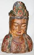 080067 DECORATED BUST OF BUDDHA H 28 W 16 D 8