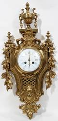 FRENCH BRONZE CARTEL CLOCK H 25 W 12