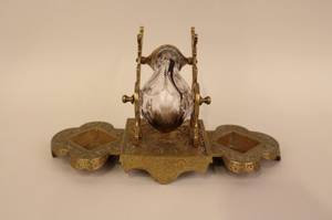 19th C American Cast Brass  Cut Glass Inkwell