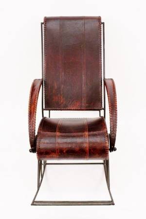 Brown Leather and Iron Rocking Chair