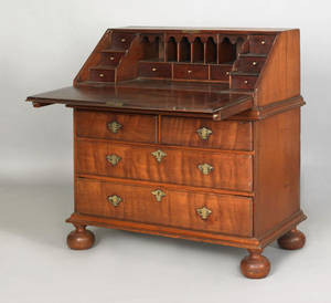 Pennsylvania William  Mary walnut slant front desk ca 1730