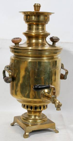 061128 RUSSIAN BRASS SAMOVAR C 1900 H 17