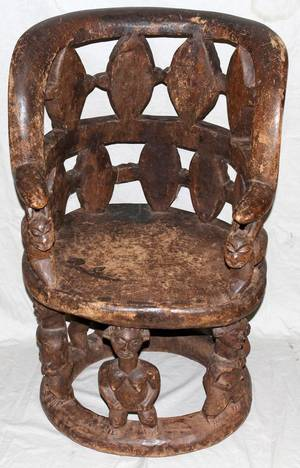 110085 AFRICAN CARVED WOOD CHIEFTAIN CHAIR H 37
